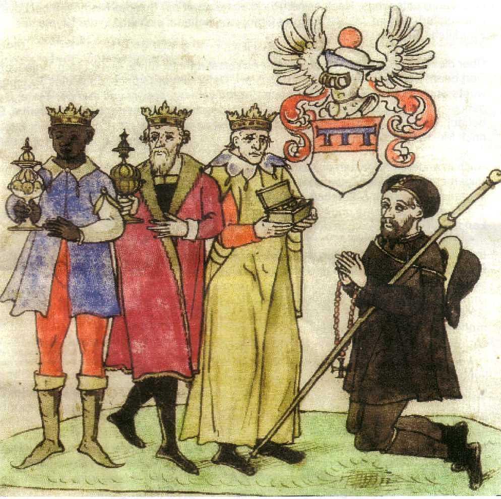 Arnold von Harff betet zu Beginn seiner Reise am Kölner Dreikönigsschrein, Buchillustration um 1500