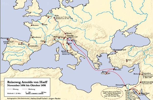Der Reiseweg Arnold von Harffs zwischen November 1496 bis Oktober 1498